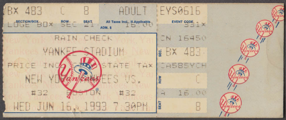 New York Yankees vs Boston Red Sox ticket stub 6/16 1993 loge box