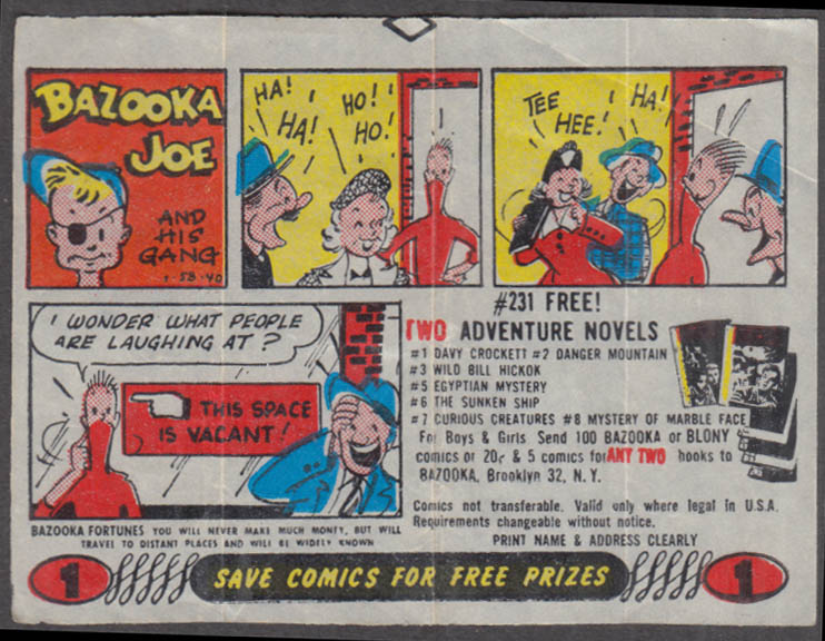 Bazooka Joe & His Gang Bubble Gum wax paper comic 1 1958