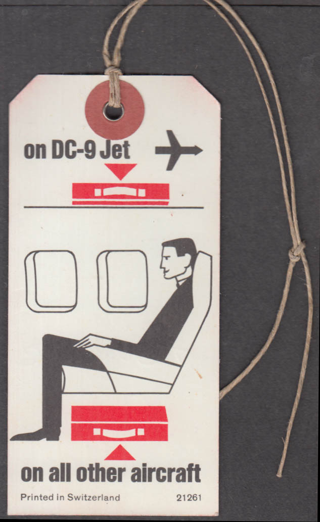Swissair Airline flown cabin baggage tag 1967 ORD Chicago DC-9