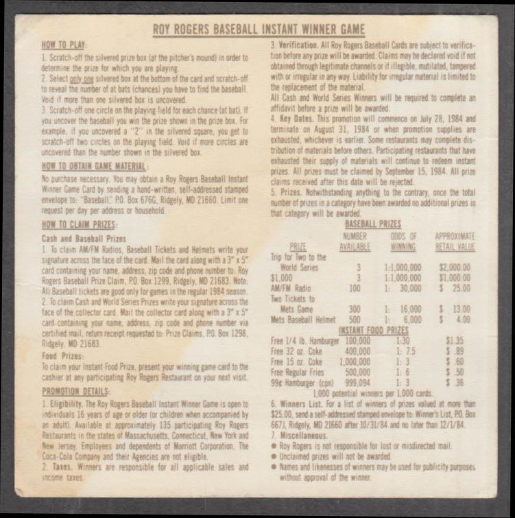 Roy Rogers Restaurant Baseball Instant Winner unused game card 1984