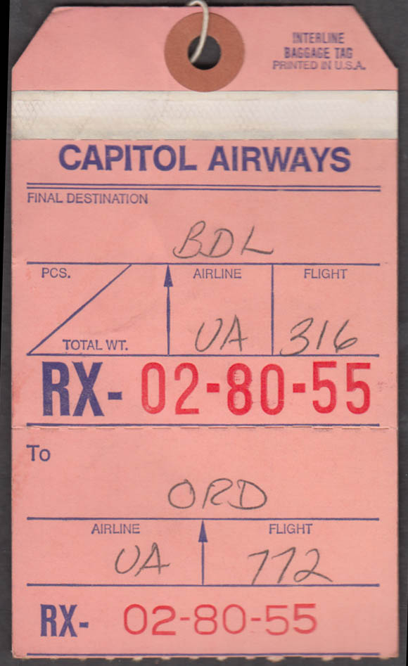 Capitol Airways flown airline interline baggage tag ORD Chicago-BDL 1960s