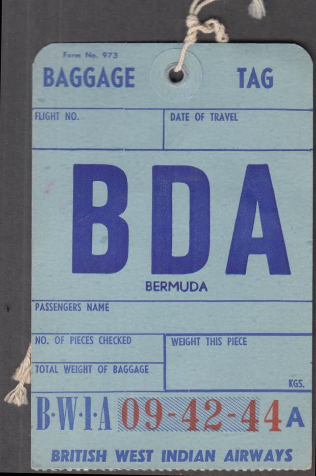 BWIA British West Indian Airways airline baggage tag BDA Bermuda 1960s