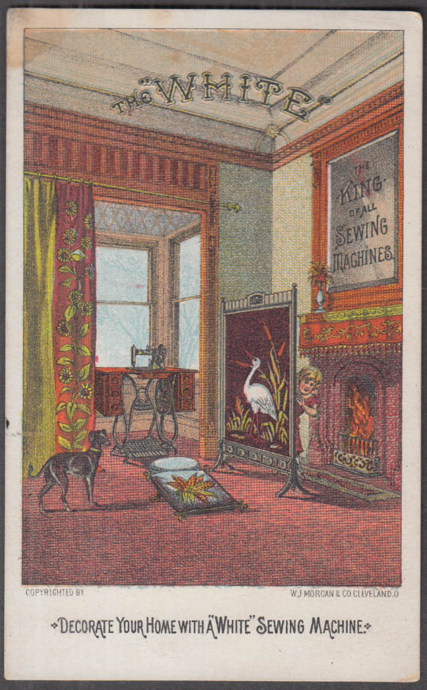 Decorate Your Home with a White Sewing Machine trade card 1880s