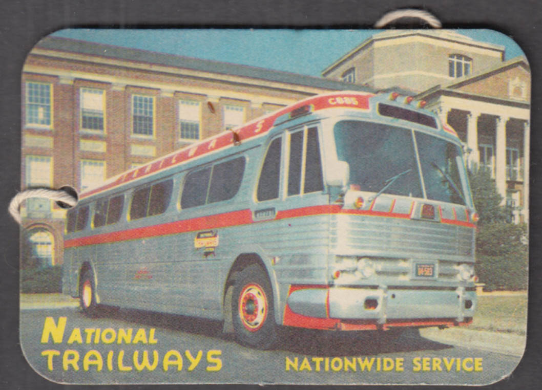 National Trailways Nationwide Service bus luggage tag unused ca 1960s