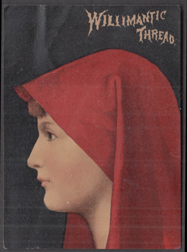 Willimantic Thread trade card girl in red hood 1884 New Orleans Exposition