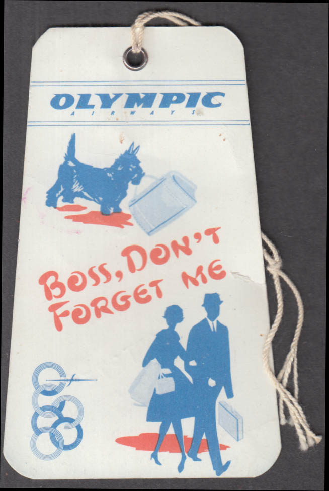 Olympic Airways flown hand bag tag flown ROME 10/27 1966