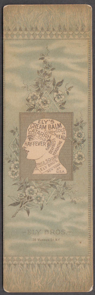 Ely's Cream Balm for Catarrh Colds Hay Fever trade card bookmark 1880s