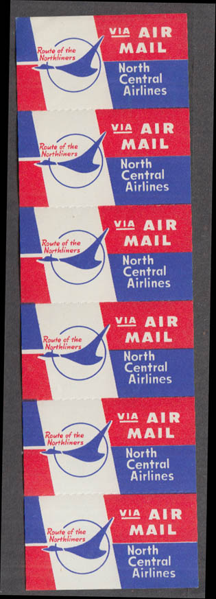 North Central Airlines strip of six AIR MAIL stickers gummed 1960s