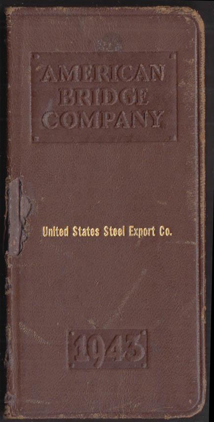 United States Steel Export Co leather pocket memorandum 1943