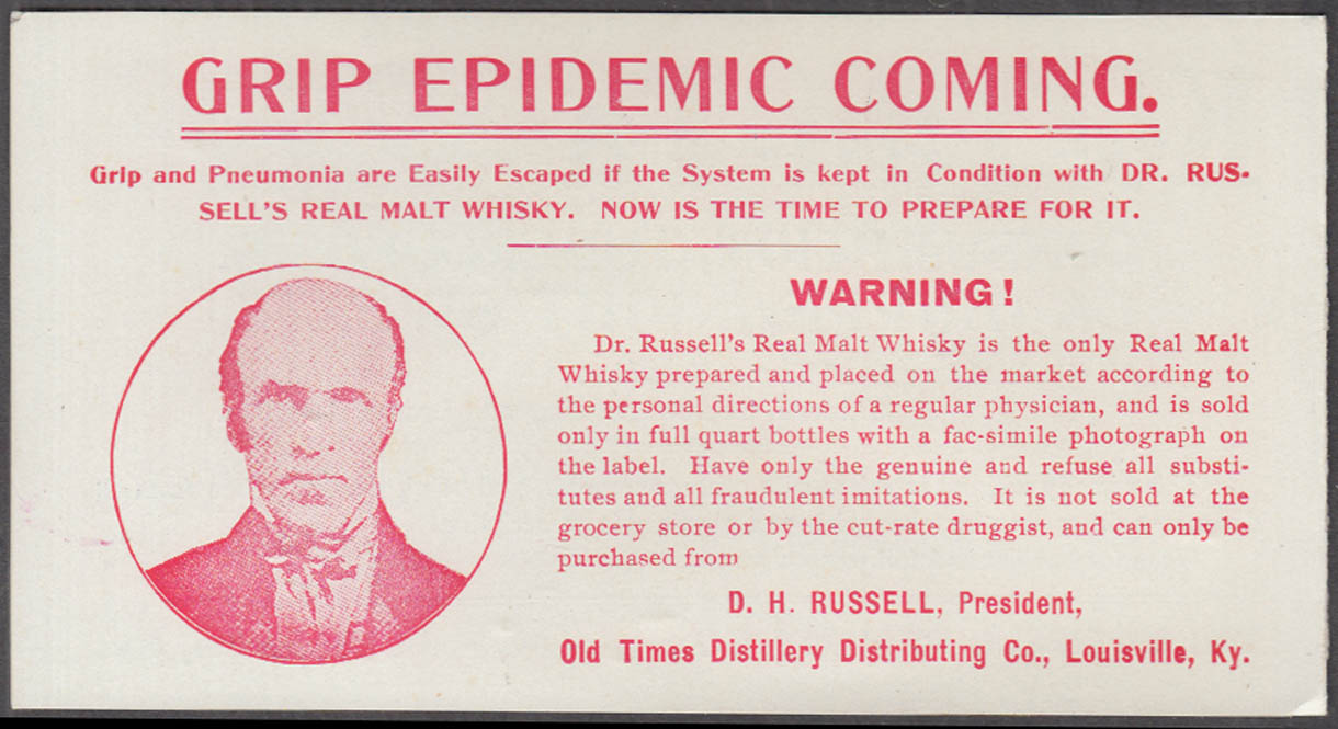 Grip Epidemic Coming Old Times Distillery Dr Russell's Malt Whiskey folder 1920s