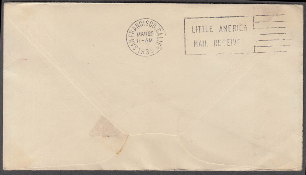 "Byrd Expedition II Little America cancel postal cover ""Delayed"" stamp 1934"