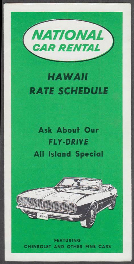 National Car Rental Hawaii Rates folder 1967 Camaro Convertible 1970