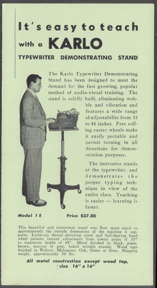 Karlo Typewriter Demonstrating Stand sales folder Grand Rapids MI 1954