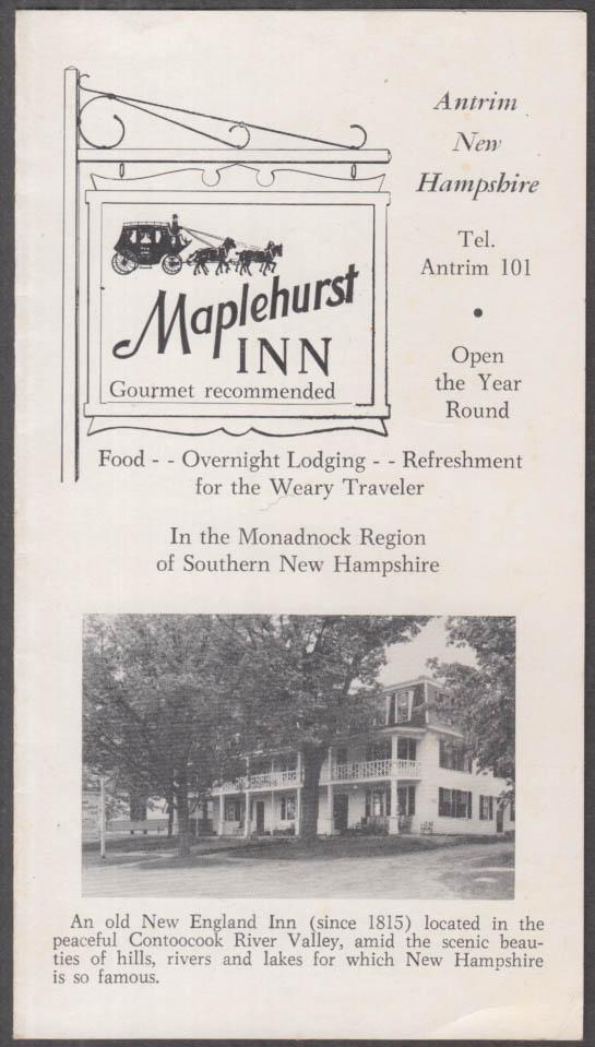 Maplehurst Inn visitor folder Antrim NH ca 1930s