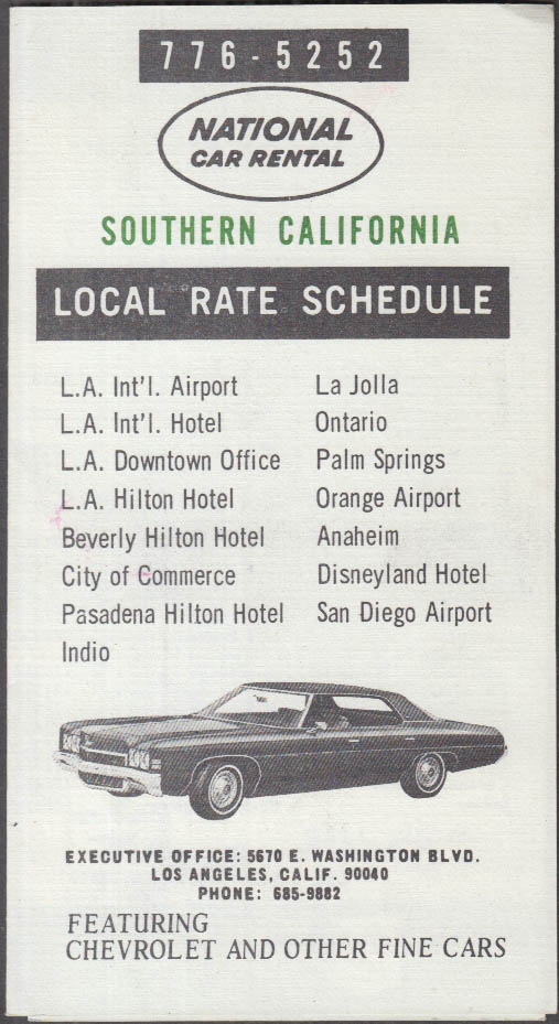 National Car Rental Southern California Rates folder 1972 Chevrolet Impala