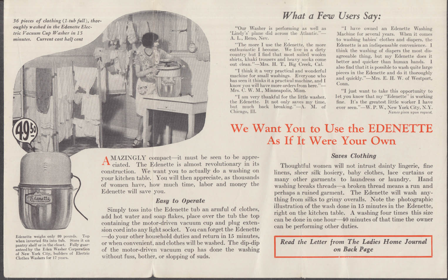 Edenette Electric Washing Machine We're Willing to Trust You folder 1927