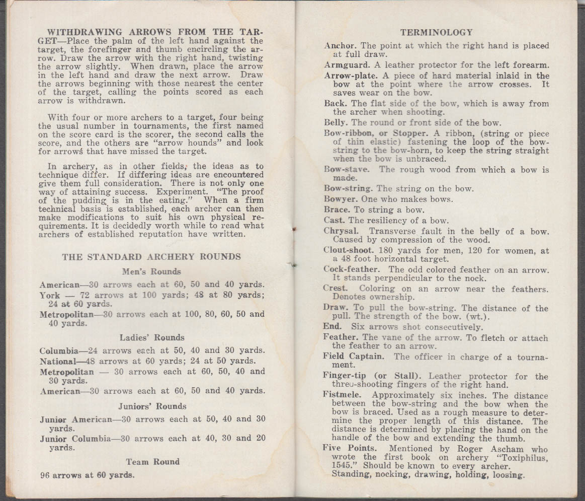 Indian Archery & Toy Company A Handbook of Archery Evansville IN ca 1930s