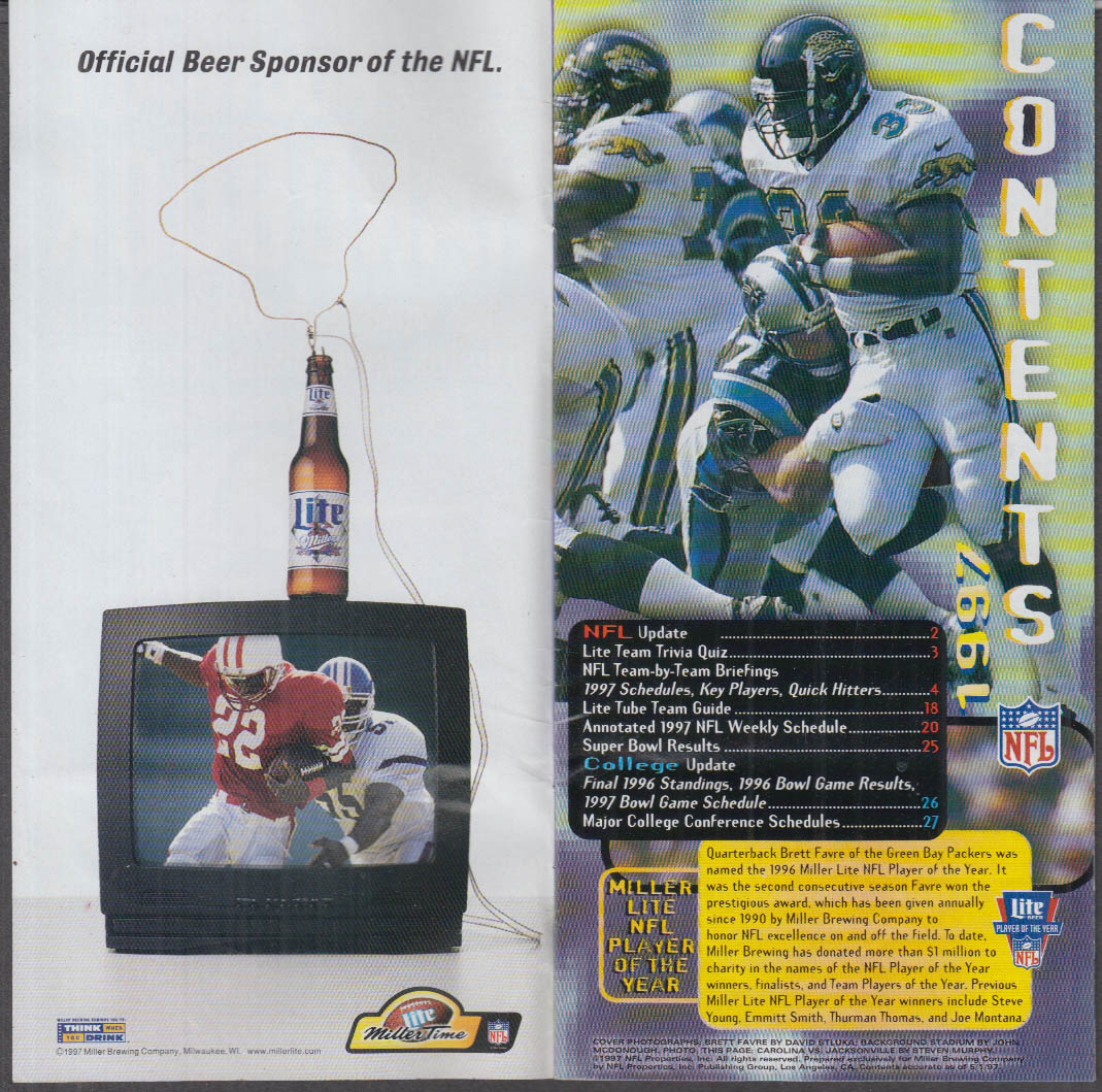 Miller Lite Beer Football Handbook NFL & College 1997