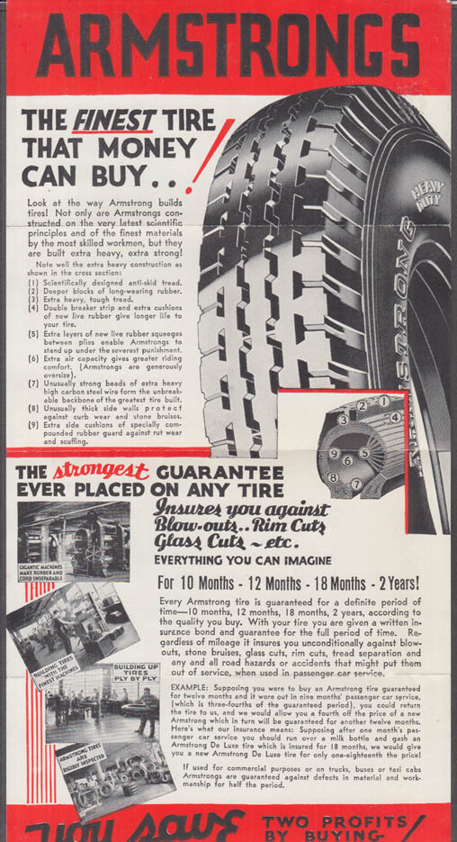 Armstrong Tires Revolutionary Idea in Tire Buying sales folder ca 1920s