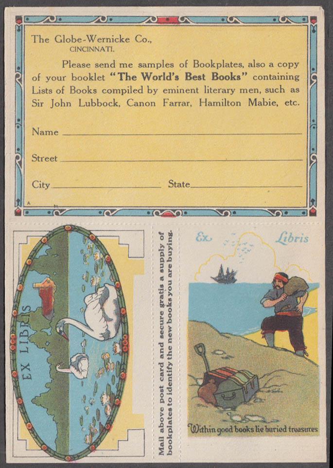 Globe-Wernicke Bookcases bookplates / postcard ca 1910s Cincinnati
