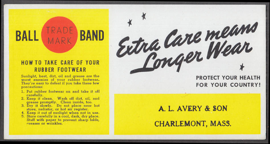 Ball Brand Rubber Footwear blotter A L Avery Charlemont MA ca 1920s