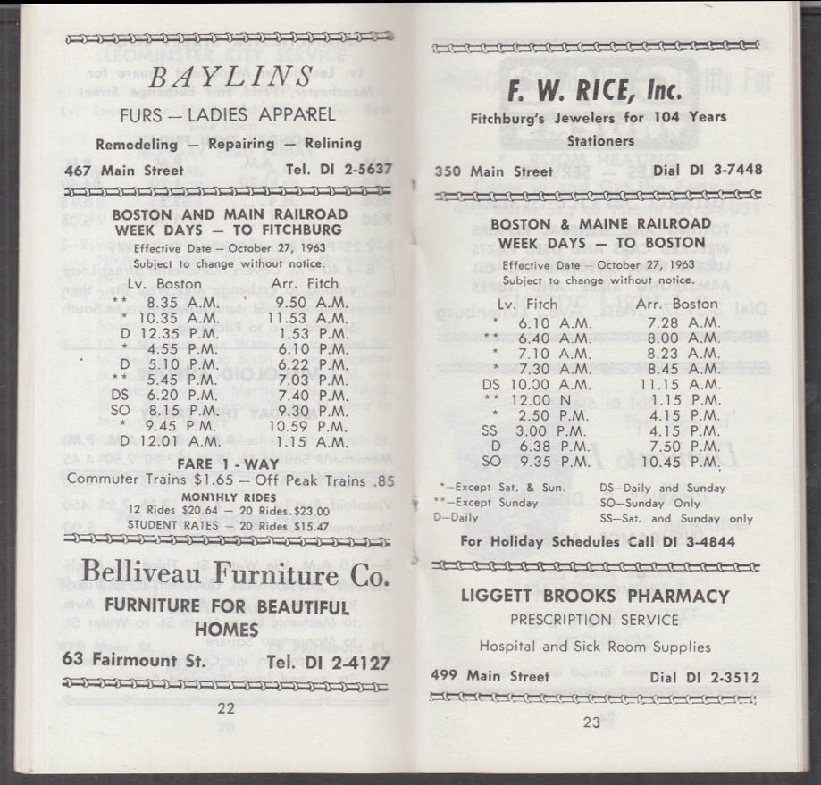 Fitchburg Leominter St Railway Shopper's Guide Boston & Maine Timetables 1 1964