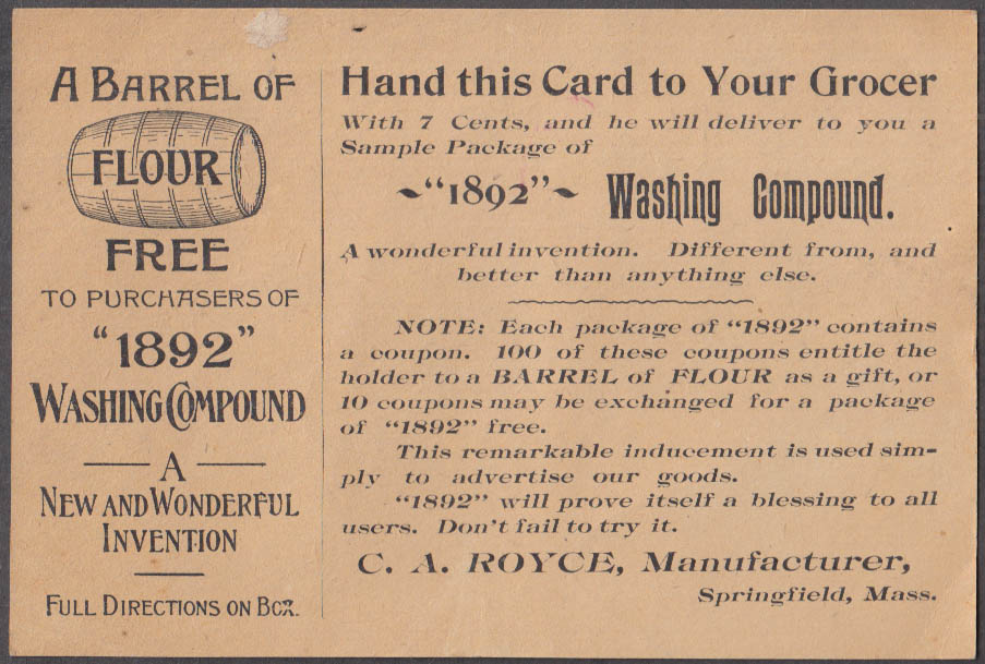 1892 Washing Compound Free Barrel of Flour offer card C A Royce Springfield MA