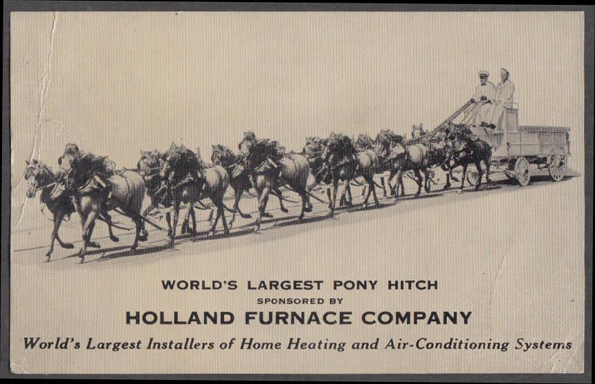 Holland Furnace sponsored World's Largest Pony Hitch flyer ca 1910s