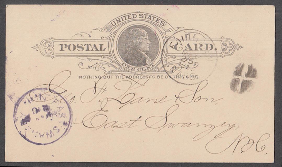 American Tack Company Fairhaven MA acknowledgment postal card 1888