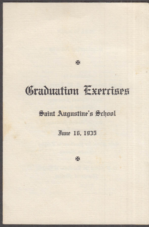 Saint Augustine's School Graduation Exercises Program 1935 Hartford CT