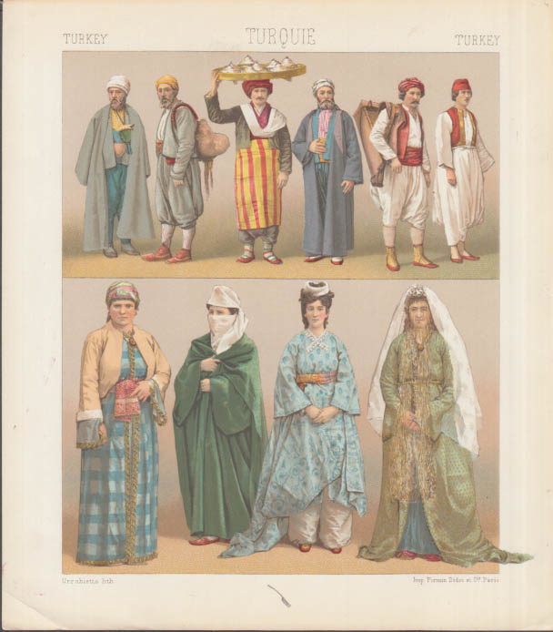 Set of three Firmin Didot chromolithograph plates Costumes of Turkey ca 1860s