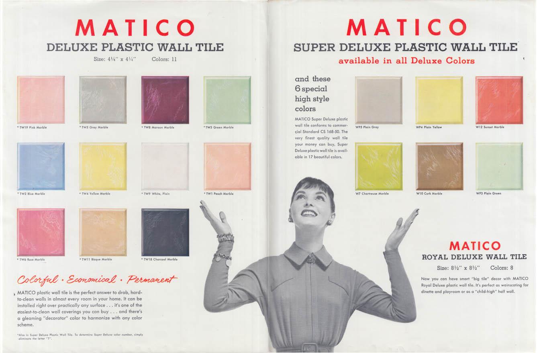 Mastic Matico Plastic Wall Tile sales folder color chart ca 1960s