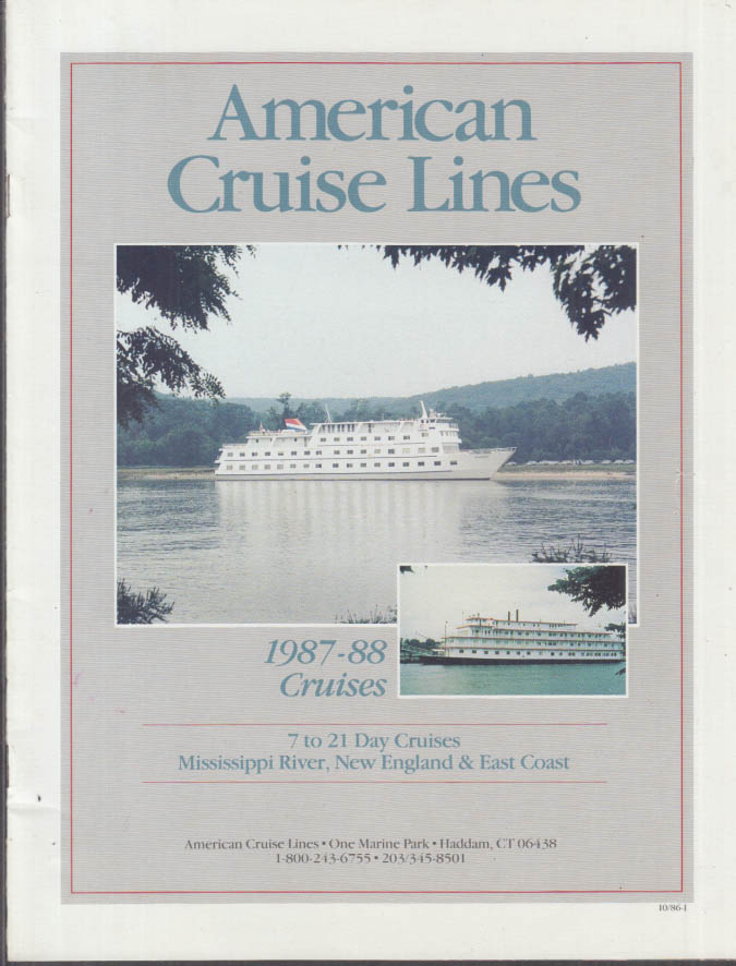 American Cruise Lines Mississippi New England East Coast Cruise brochure 1987-88