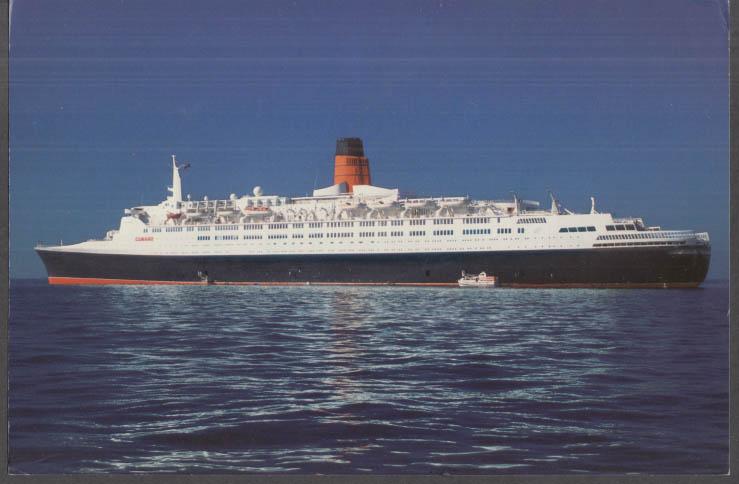 Cunard Line R M S Queen Elizabeth 2 QE2 jumbo postcard 1970s