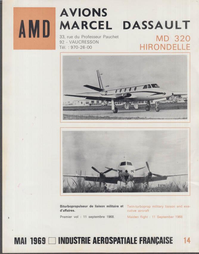 AMD Avions Marcel Dassault MD 320 Hirondelle fact sheet 1969