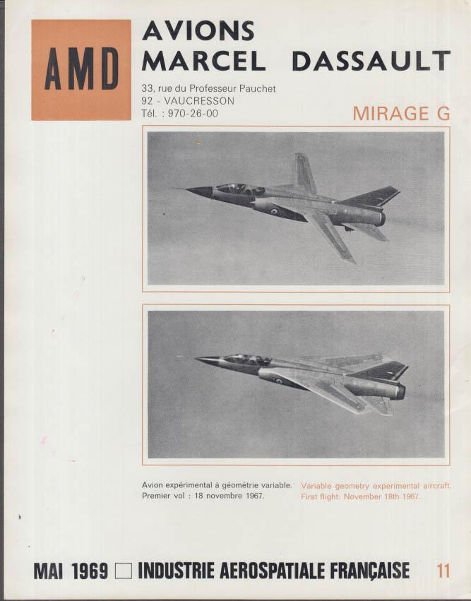 AMD Avions Marcel Dassault Mirage G Jet Plane fact sheet 1969