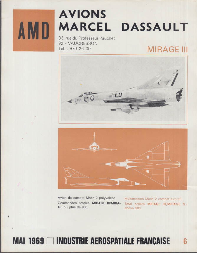 AMD Avions Marcel Dassault Mirage III Jet Fighter fact sheet 1969