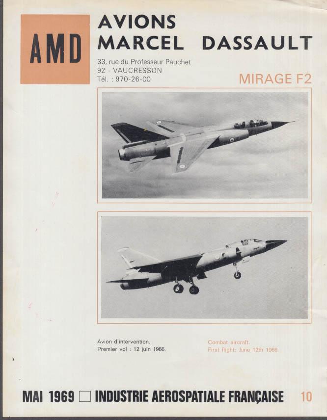 AMD Avions Marcel Dassault Mirage F2 Jet Fighter fact sheet 1969