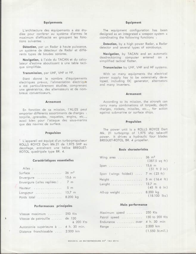 Louis Breguet 1050 Alize Carrier-based Anti-Submarine Aircraft fact sheet 1963