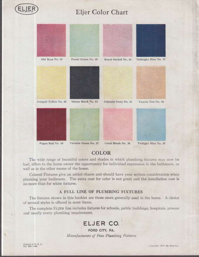 Eljer Plumbing Fixtures Modern as Tomorrow Catalog 1939