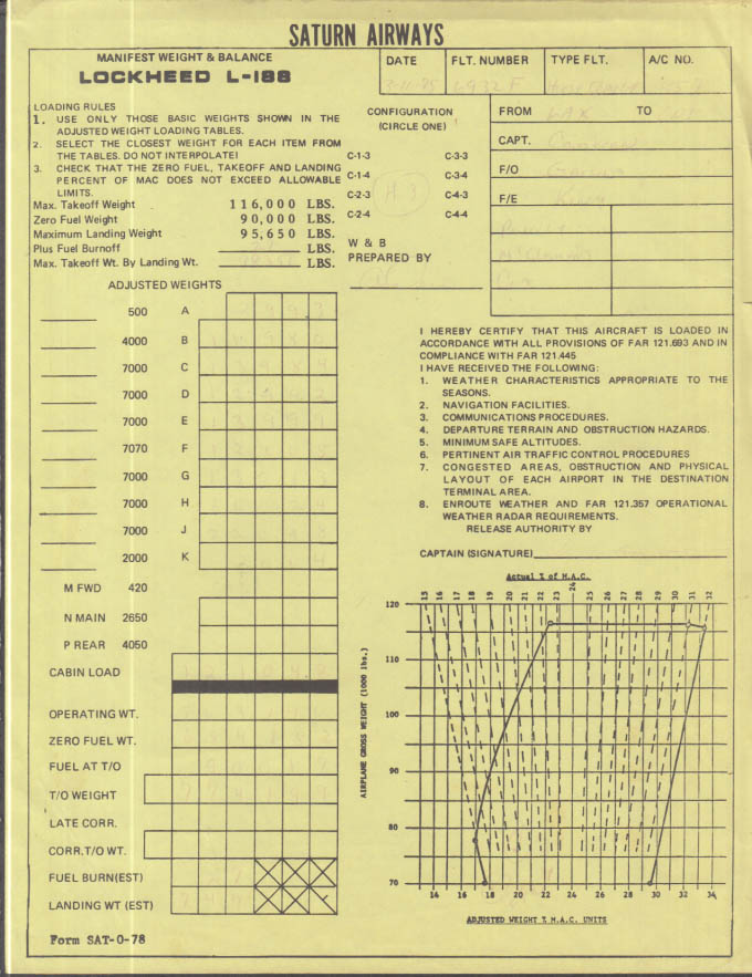 Saturn Airways Lockheed L-188 Manifest Weight & Balance sheet LAX-ONT 1975