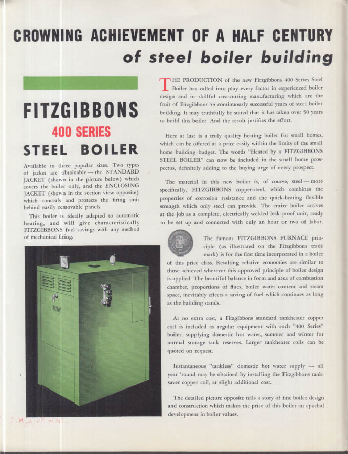 Fitzgibbons 400 Series Steel Heating Boiler for Small Homes folder 1939
