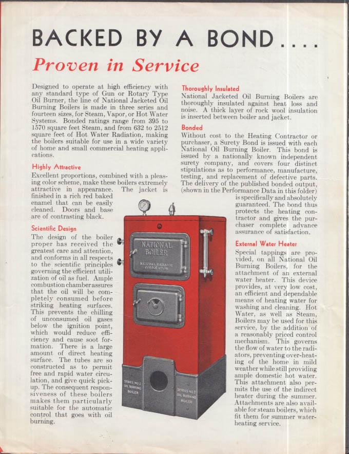 National Radiator Bonded Jacketed Oil-Burning Heating Boiler folder 1935