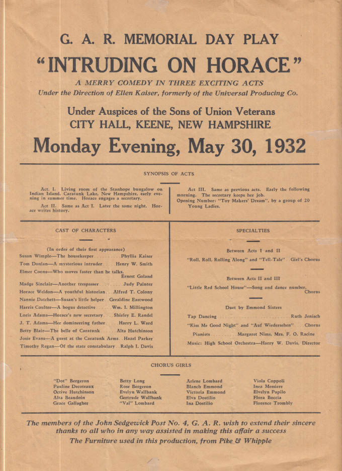 GAR Sons of Union Veterans Keene NH Memorial Day Play Intruding on Horace 1932