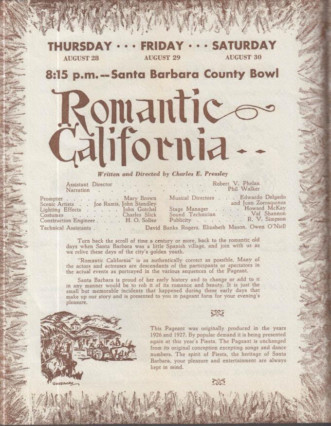 Old Spanish Days in Santa Barnara CA Official Program 1947