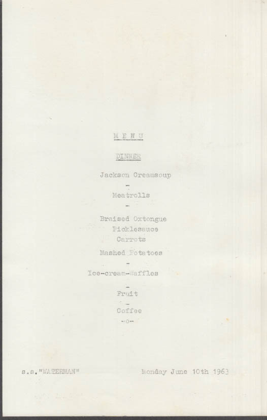 Netherlands Transport S S Waterman Dinner Menu card 6/10 1963