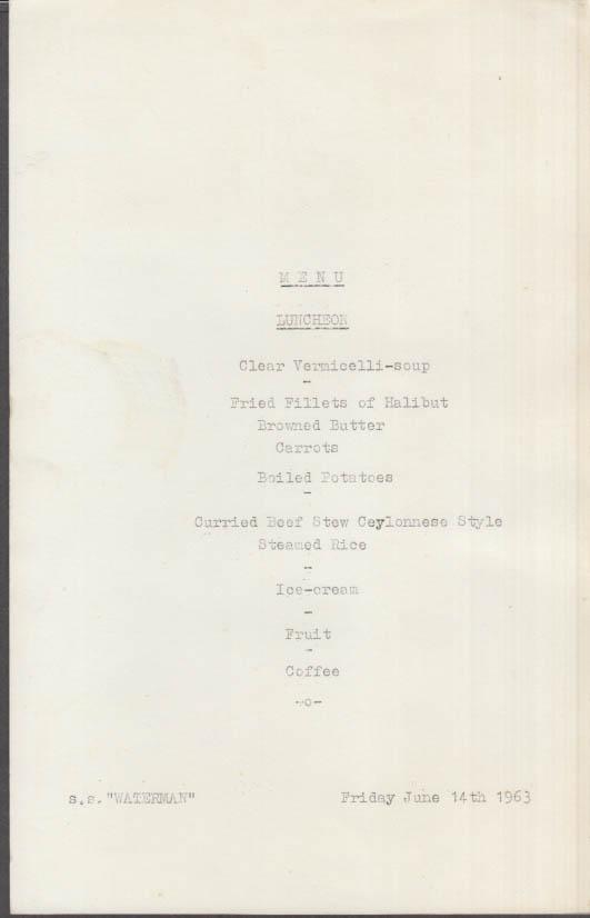 Netherlands Transport S S Waterman Lunch Menu card 6/14 1963