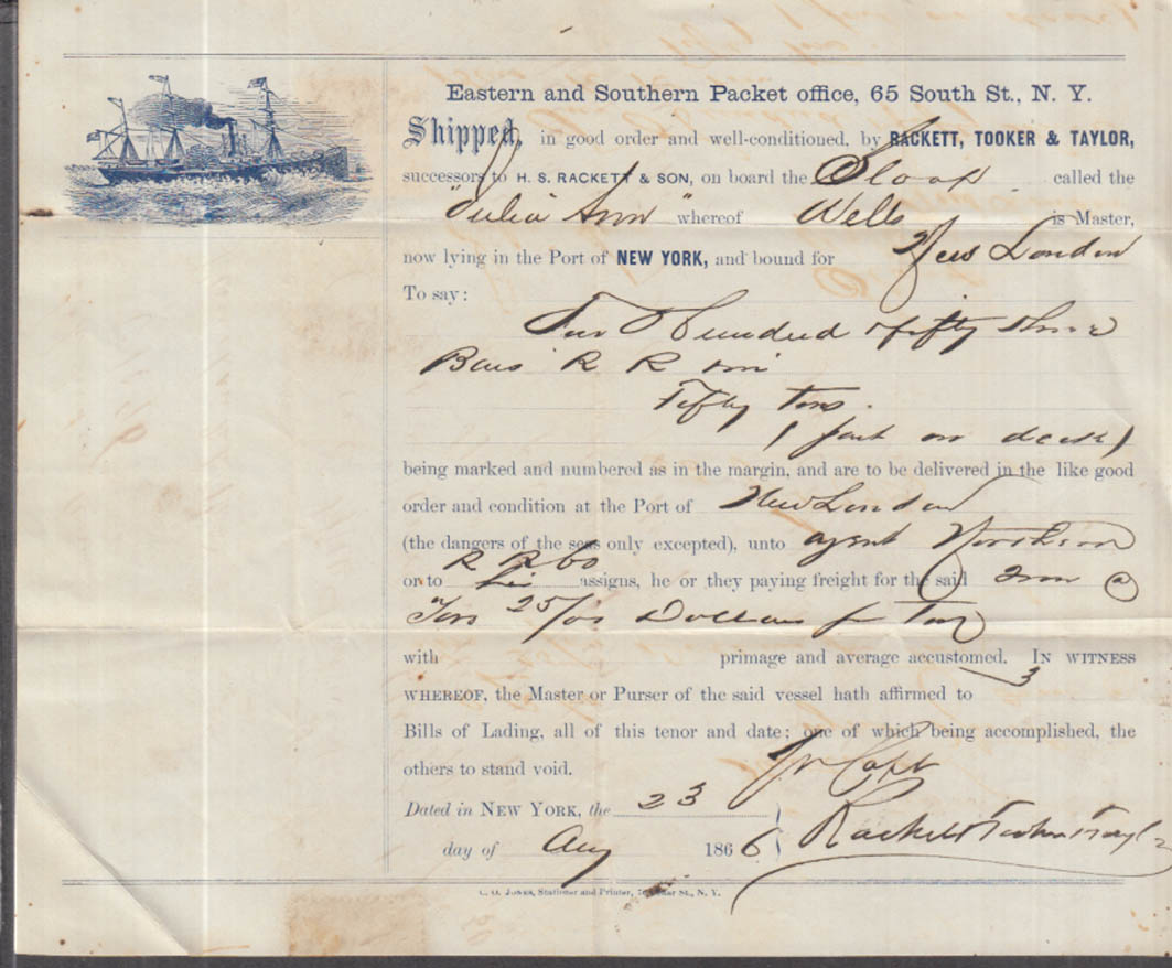 Eastern & Southern Packet Bill of Lading 1866 Sloop Julia Ann NY-New London