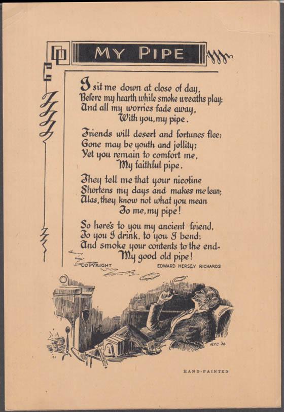 "Edward Hersey Richards poem card ""My Pipe"" 1938"