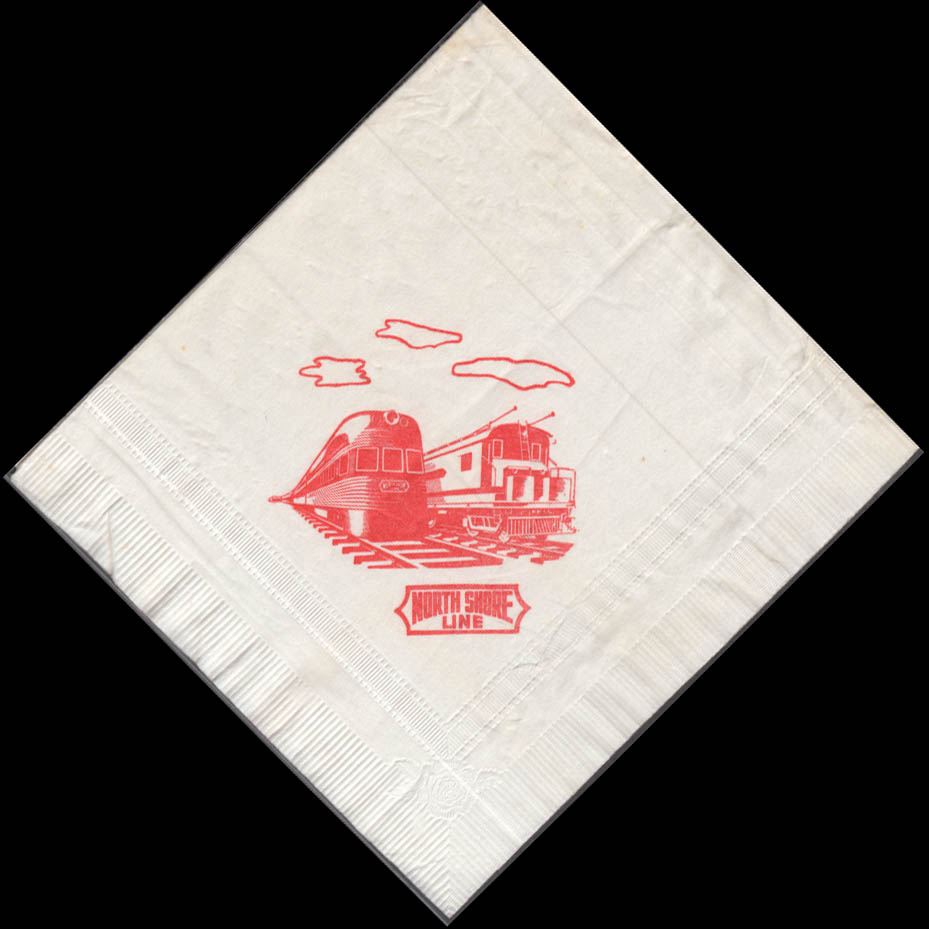 Chicago North Shore and Milwaukee Railroad dining car paper napkin